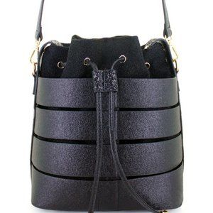 Caged Crossbody Bucket Bag   Black